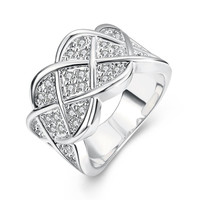 Lattice White Gold Plated Ring