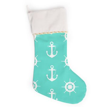 "afe images ""Anchor And Helm Wheel"" Teal White Illustration Christmas Stocking"