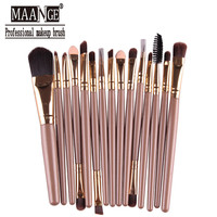 Professional 15Pcs Cosmetic Makeup Brush Women Foundation Eyeshadow Eyeliner Lip Brand Make Up Eye Brushes Set 11 Colors MAG035