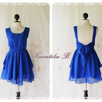 A Party - Prom Party Cocktail Bridesmaid Dinner Wedding Night Dress Asymmetric Hem Fresh Royal Blue Sweet Gorgeous Glamorous Dress
