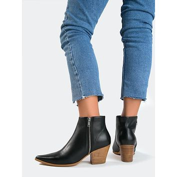 Pointed Toe Wooden Heel Bootie
