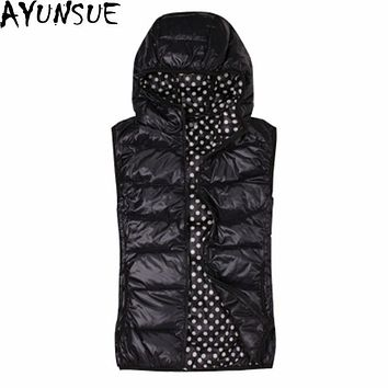 AYUNSUE Winter Vest Women Short Black Down Jacket Sleeveless Vests Chalecos Mujer Sin Mangas Female Hooded Womens Vests WXF134