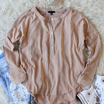 Mineral Wash Henley in Taupe