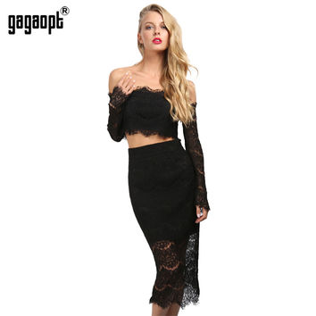Gagaopt Sexy Women Dress Slash Neck White Black Lace Dress 2 Piece Top+Long Dress Elegant Party Dresses Vestidos Robes