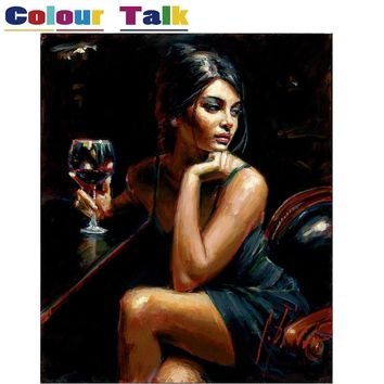 Hot Sexy Woman with Wine Painting By Numbers on Canvas DIY Abstract Frameless Oil Painting Home Decor Wall Art Picture P-5117