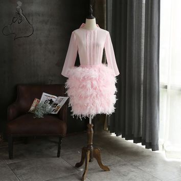 Custom Made Feathers Short Prom Dresses Long Sleeves Straight Illusion Cocktail Dresses with Bow 2018 Formal Party Gowns