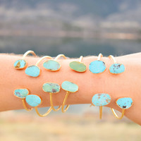 Double Turquoise Cuff: Sky