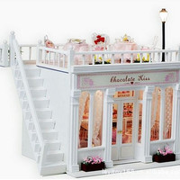 X006 European shop large diy doll house miniature dollhouse wooden with voice light and muisc