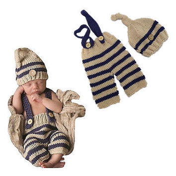 Newborn Photography Props Crochet Knitting Costume Set Hats and Pants Newborn Outfits Accessory