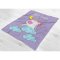 Sweet Dreams Unicorn Fleece Blanket - Cute Gift For Unicorn Lovers - Sleep In Style - [Small / Medium / Large]