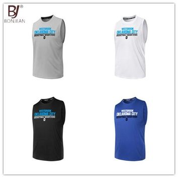 BONJEAN 0 Russell Westbrook Printed Jersey Top Quality Uniforms Sports Basketball Jerseys Breathable Quick Dry Training Shirts