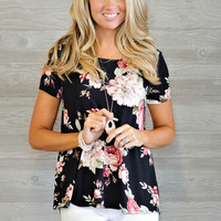 * Alvino Floral Top With Criss Cross Back - Black
