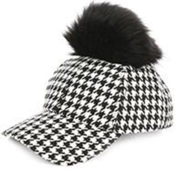 FAUX FUR Pom Pom HOUNDSTOOTH Woven BASEBALL HAT  CAP one size
