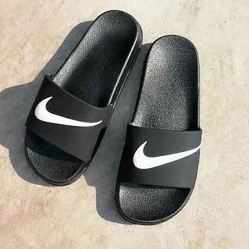 Nike Benassi Black Beach Slippers Men and Women Couples Fashion Sandals Black Slippers