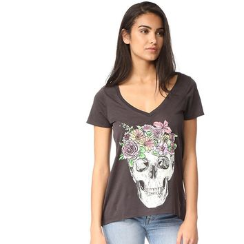 Women Top Skull Flowers Print Punk Style Cotton
