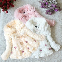 Fashioncity Girls Fur Coat Autumn Winter Clothes Children Kids Toddler Children's Sweet Flower Outwear Jacket Warm Clothing = 1931564612