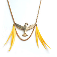 """Tropical Yellow feathers and solid gold bronze handmade parrot Necklace  """" ARA """""""