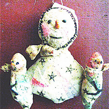 OOAK Primitive Folk Art Snow Folk---Mama's Twins...Coochie-Coochie-Coo-Times-Two---Original Handcrafted Snow Folk