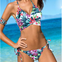 Sexy women Floral   print  chest cross back knot two piece bikini