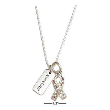 "STERLING SILVER 18"" CLEAR SWAROVSKI CRYSTALS AWARENESS RIBBON SURVIVOR NECKLACE"