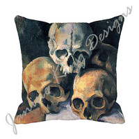 "Cezanne Skulls (both sides) 18"" Decorative Throw Pillow Cover 18x18 Eco Friendly Fabric 18 inch Pillow Cover Steampunk Goth  USA Handmade"