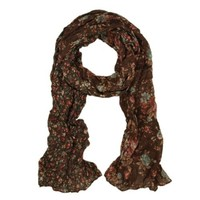 Unique Two Sided Flower and Cherry Print Scarf, Brown