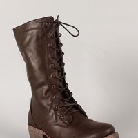 DbDk Women's Merride-1 Lace-Up Combat Boot