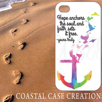 Apple iPhone 4 4G 4S 5G Hard Plastic Cell Phone Case Cover Original Trendy Stylish Hope Faith Anchor Tie Dye Bible Quote Design