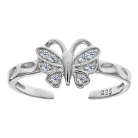 Sterling Silver Rhodium Plated Butterfly With CZ Cuff Style Adjustable Toe Ring