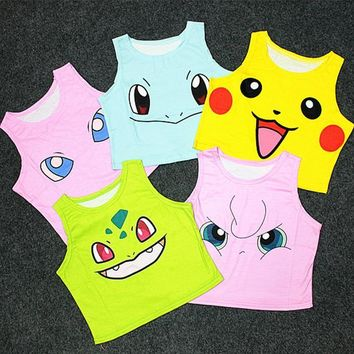 Women's Squirtle Jigglypuff Pikachu AA style Bustier Crop Top Sexy Camisole 3D  cartoon Print cropped tank Top A-003Kawaii Pokemon go  AT_89_9