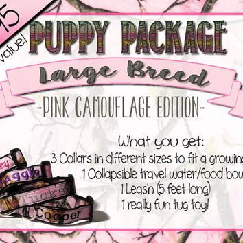New Puppy Package - Personalized Pink Camo Dog Collar and Accessory Set for Large Breed Dogs