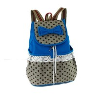 ZLYC Girls Super Cute Lace Casual Canvas Bowknot School Backpack