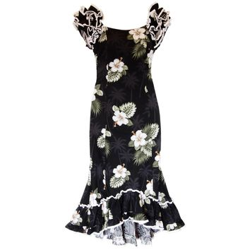 Blackberry Black Hawaiian Meaaloha Muumuu Dress with Sleeves