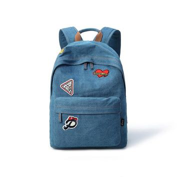 Student Backpack Children Women Backpack Preppy Style Female College Students Backpack Large Capacity Cute Washed Denim Girls Knapsack AT_49_3