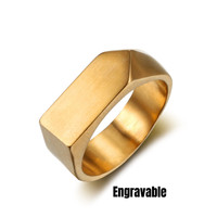 Men's Personalized Engravable Gold IP Stainless Steel Signet Ring