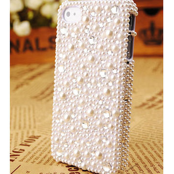 FREE SHIPPING iPhone 5 Cover Pearl Rhinestones Crystals Best Back Case Cover
