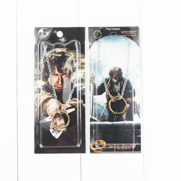 Lord Ring Jewelry Link Chain One Bilbo Hobbits Frodo Baggins Gollum Smeagol Golden Metal Pendant in Blister Card Package