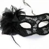 Simplicity Sheer Lace and Floral Mardi Gras Masquerade Costume Mask, 1059_Black