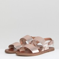 Dune Two Part Rose Gold Leather Sandal at asos.com