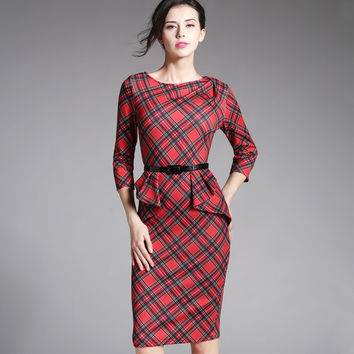 Spring Autumn Women Elegant Red Tartan Plaid Ruffle Ruched Office Work Business Casual Party Pencil Sheath Dress B267