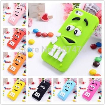 ONETOW New Cute Lovely 3D Cartoon Chocolate Beans Soft Silicone Rubber Back Case Cover for iPhone 7 7plus 5 5S 6 6S 6+ Plus 4 4S 5C SE