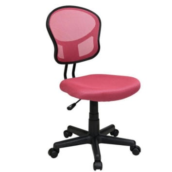 Mesh Back and Padded Seat Desk Chair in Hot Pink Armless Home Office Furniture