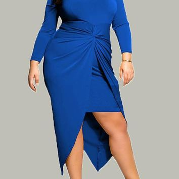 New Royal Blue Irregular Slit Knot Long Sleeve Plus Size Wrap Midi Dress