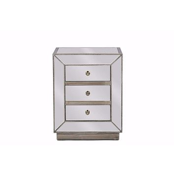 Currin Contemporary Mirrored 3-Drawer Nightstand By Baxton Studio