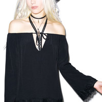 For Love & Lemons Wildchild Blouse Black