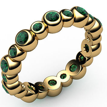 Emerald Eternity Ring,20 stones, 18K gold, Jewelry,marriage,anniversary ring, wedding party, May Birthstone
