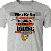 Fat Bike T-Shirt-Weekend Forecast-Chance of Beer-Bicycle Tshirt in Athletic Grey