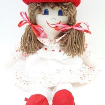 handmade Rag Doll cloth body girl ragdoll red, pink, golden brown, NF172