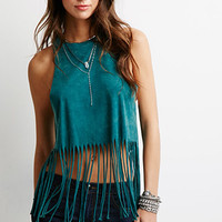 Brushed Knit Fringe Top