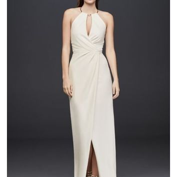 Draped Crepe Sheath Dress with Necklace Detail - Davids Bridal